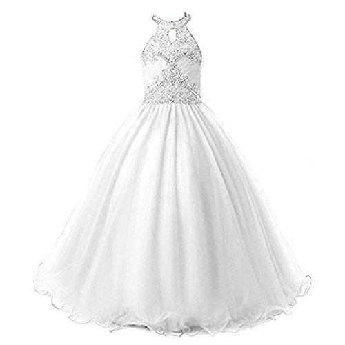 White First Communion Dress for Girl's 2018 Halter Neck Beaded A Line Formal Dresses for Wedding,Size 12 ()