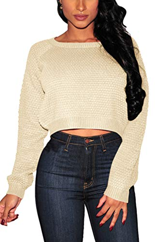 Crop Cable - Pink Queen Womens Sweaters Cable Knit Pullover Crop Sweater Apricot Size XL