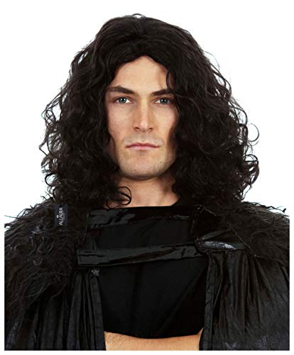 Game of Thrones Costume Jon Snow Wig - Long Black GoT Mens Cosplay 70s Wigs for Men