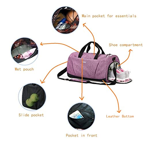 Sports Gym Bag with Shoes Compartment wet pocket for Women & men