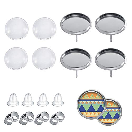 40Pcs Stainless Steel Stud Earring Cabochon Setting Post Cup Fit for 12mm,40 Pcs Glass Cabochons,80 Pcs Earring Backs (Fit 12 mm Cabochons)