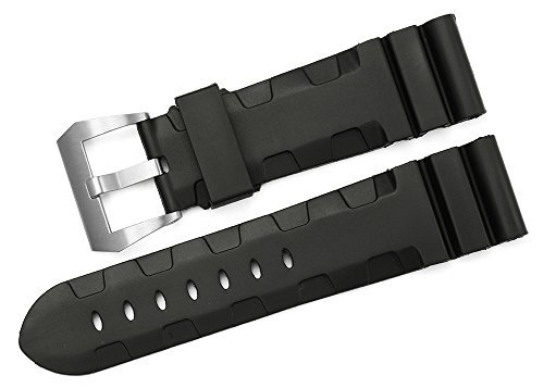 iStrap 24mm Rubber Diver Replacement Watch Band Brushed Buckle for Men Panerai Luminor - Black - 44mm Panerai Watches