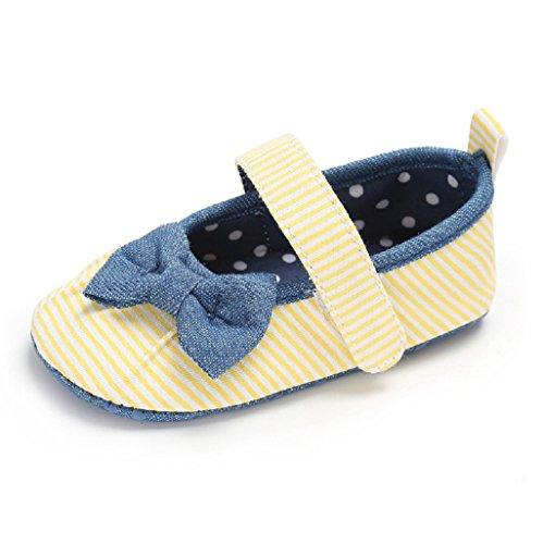 Baby Schuhe Auxma Baby Bowknot Soft Sole Kleinkind Schuhe Erste Walking Schuhe für 0-18Month (12-18 M, Gelb) Gelb