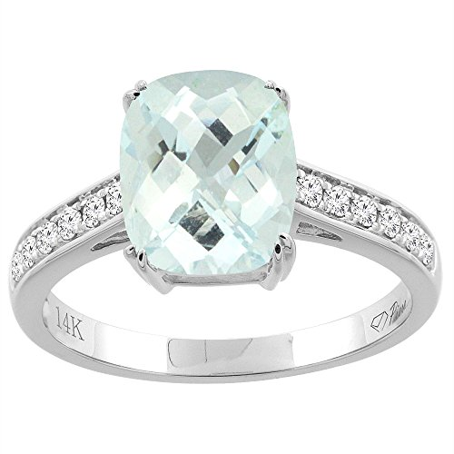 14K White Gold Natural Aquamarine Ring Cushion Cut 9x7 mm Diamond Accents, size (Cushion Cut Aquamarine Ring)