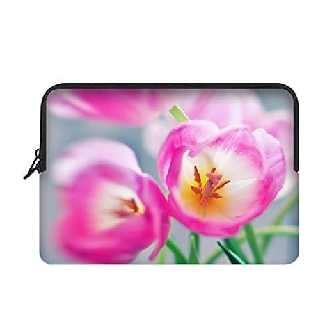 JIUDUIDODO Awesome Tulips Water Resistant Custom Sleeve for Macbook Air/Pro 12