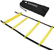 Navaris Agility Ladder 20 Feet - Speed Ladder with 12 Adjustable Rungs - Training Exercise Equipment for Footb