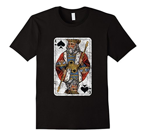 [Men's Vintage King of Clubs Playing Card T-Shirt 2XL Black] (Black Russian Male Adult Costumes)