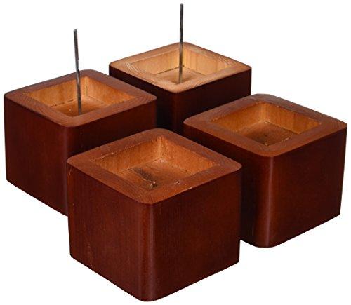 Richards Homewares 5980-4 Wood Bed Lifters, Set of 4, Mahogany