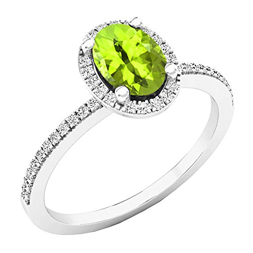 Dazzlingrock Collection 10K 7X5 MM Oval Peridot & Round Diamond Bridal Halo Engagement Ring, White Gold, Size 8