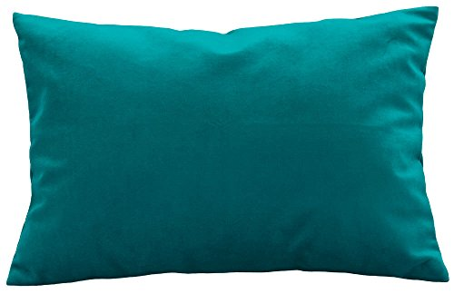 """TangDepot Solid Velvet Throw Pillow Cover/Euro Sham/Cushion Sham, Super Luxury Soft Pillow Cases, Many Color & Size options - (12""""x18"""", Teal)"""
