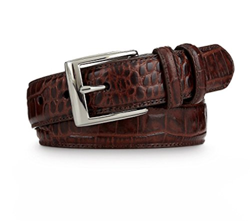 Polo Ralph Lauren Mens Crocodile Embossed Italian Leather Belt (36, Brown)