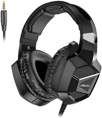 Pro Stereo Headset - Jeecoo J20 Stereo Gaming Headset - Bass Surround - Soft Memory Earmuffs - Noise Cancelling Over Ear Headphones with Microphone - Compatible with PS4, PS4 Pro, Xbox One S, Xbox One Controller, PC Games