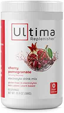 Ultima Replenisher Hydrating Electrolyte Powder, Cherry Pomegrante, 90 Servings, no Sugar, no Carbs, no Calories, Keto, Gluten-Free, Paleo, Non-GMO, Vegan, with Magnesium, Potassium, Calcium
