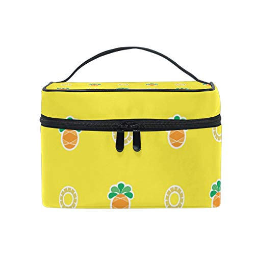 Cute Yellow Pineapple Charm Travel Toiletry Bag Cosmetic Organizer for Large Portable Bathroom Accessories Kit