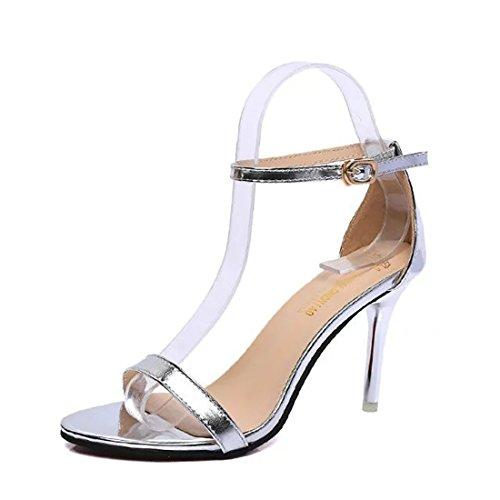 De Yyf Environ f Noir Pour Chaussure Elegante A Argent Cm Talon Blanc Printemps 8 Ete Yy Femme wSx4YRw