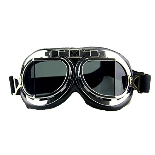 (Vintage Goggles Aviator Pilot Style Motorcycle Cruiser Scooter Racer Glasses)