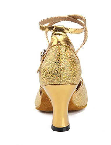 Miyoopark Girls Mujeres Cross Strap Brillo Espumoso Salsa Bombas De Baile Latino Zapatos Gold-7cm Heel