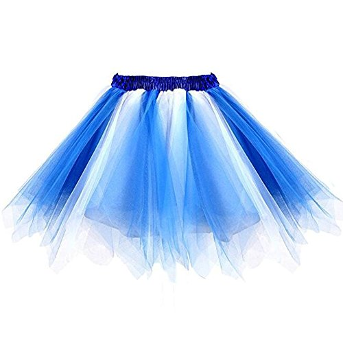 Kileyi Womens Tutu Costume Adult Party Dance Tulle Skirt Short Fluffy Petticoat White Blue S
