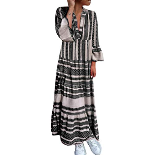 (TUSANG Women Skirts Fashion Summer Printed V Neck Beach Party Long Dresses Bohemian Dresses Loose Comfy Dress)