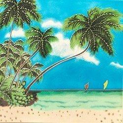 Tile Tree Palm Ceramic - J Sea Designs Palm Tree w/Boat Ceramic Wall Art Tile 4x4