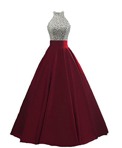 HEIMO Women's Sequined Keyhole Back Evening Party Gowns Beaded Formal Prom Dresses Long H123 2 Burgundy