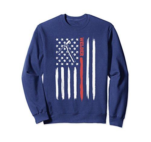 Unisex Welding sweatshirt | American Flag With Torch For Tig Welder Medium (Welder Adult Sweatshirt)