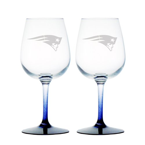 NFL New England Patriots Wine Glass, 12-ounce, 2-Pack ()