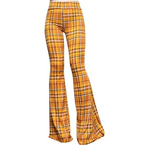 SMT Women's High Waist Wide Leg Long Bell Bottom Yoga Pants Small Plaid Mustard