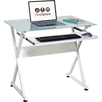 OneSpace Ultramodern Glass Computer Desk, with Pull-Out Keyboard Tray, White