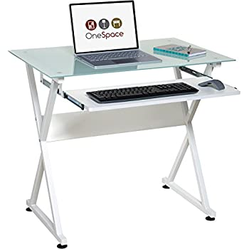 onespace 50jn1201 ultramodern glass computer desk with pullout keyboard tray white