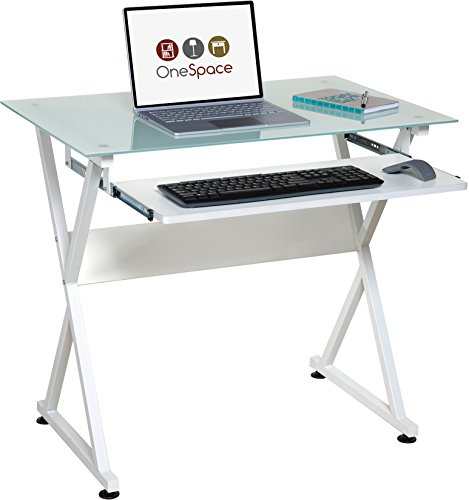 Glass Wide Computer Desk - OneSpace Ultramodern Glass Computer Desk, with Pull-Out Keyboard Tray, White