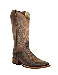 Corral Boot Women's 12-Inch Distressed Leather Embroidery Pull Straps Square Toe Shedron Western Boot