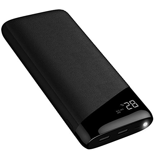 Power Bank 24000mAh Portable Charger Todamay External Battery with LCD Display, 2.1A Input Port, LED Lights and 2 Charging Ports for Smartphone and Other Devices, Black