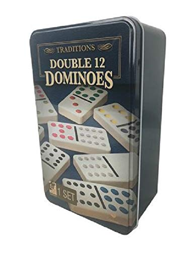 - Cardinal Games - Traditions: Double 12 Dominoes in Travel Tin Case