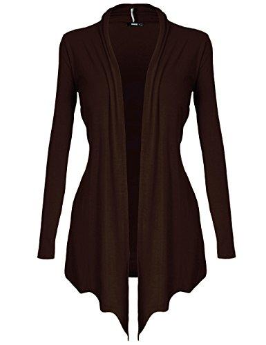 DRSKIN Women's Open - Front Long Sleeve Knit Cardigan (Cardigan Brown, S)