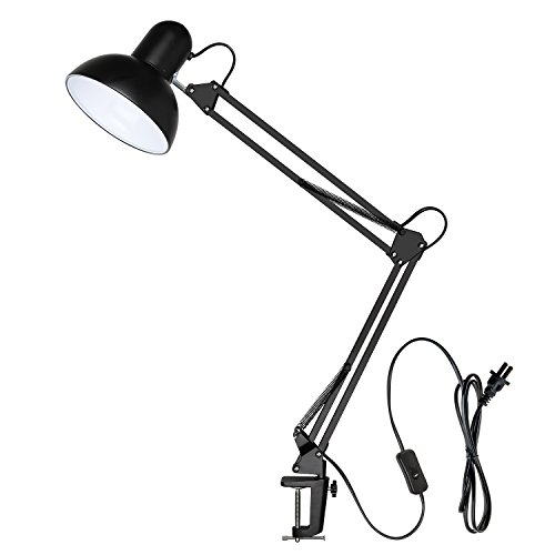 Metal Swing Arm Desk Lamp, Carry360 Long Arm Architect Table Clamp Mounted Lamp with Metal Clamp, Multi-Joint, Adjustable Arm for Drawing/Drafting/Office/Studio, Black Finish (Architectural Lamp)