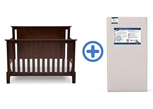 Serta Mid Century Modern Lifestyle 4-in-1 Convertible Crib, Walnut Espresso with Perfect Evening Air Crib and Toddler Mattress