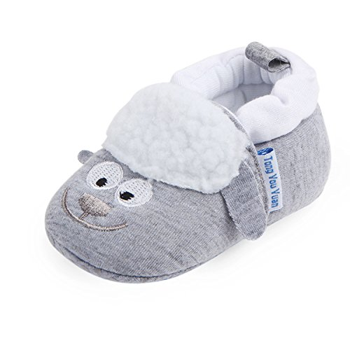 Save Beautiful Cute Animal Infant Baby Girl Boy Toddler Shoes Sneaker Anti-Slip Soft Sole First Walkers Shoes (12-18 Months, Grey Sheep)