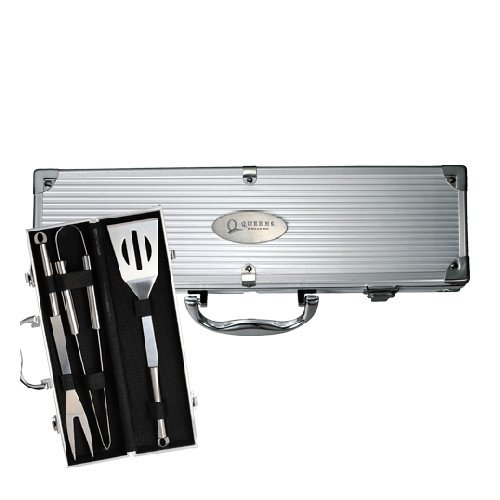 Queens College Grill Master 3pc BBQ Set 'Queens College Stacked Engraved'