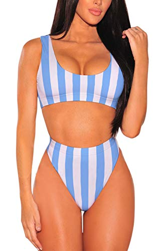 Pink Queen Women's Two Piece High Waisted Bathing Suit Striped Bikini Set Blue M