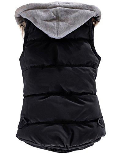 del Mangas Chaleco Invierno Abajo sin Capucha Caliente Mujeres Botón Desmontable EMMA Negro Chaqueta con Acolchado 8W4nw1O