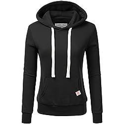 NINEXIS Womens Long Sleeve Fleece Pullover Hoodie Sweatshirts, Black Large
