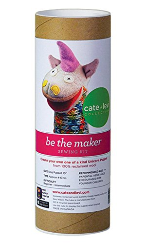 Cate and Levi 10 Handmade Unicorn Puppet Making Kit (Premium Reclaimed Wool), Colors Will Vary