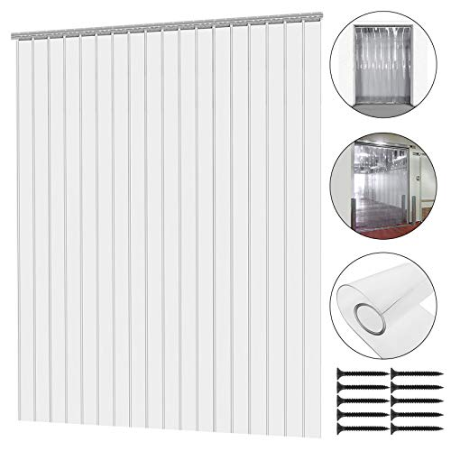 Mophorn 12Pcs Plastic Curtain Strips 82.6 Inch Height X 6 Inch Width Strip Door Curtain 2MM Thickness Clear Curtain Strip for Warehouse Doors ()