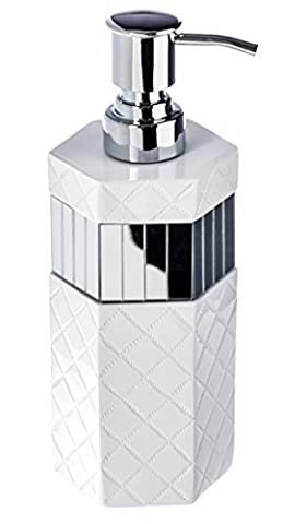 "Quilted Mirror Hand Soap Dispenser (3"" x 3"" x 7.9"") Countertop Decorative Lotion Pump- Durable Metal Pump, Resin Sink Shower Dispensers- For Elegant Bathroom (Tall Double Sink Vanity)"
