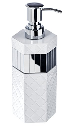 "Elegant Bathroom Mirror (Quilted Mirror Hand Soap Dispenser (3"" x 3"" x 7.9"") Countertop Decorative Lotion Pump- Durable Metal Pump, Resin Sink Shower Dispensers- For Elegant Bathroom Decor)"
