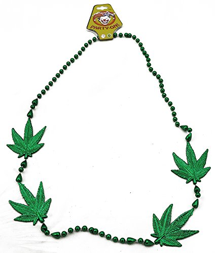 (Green Fern Pot Leaf Marijuana Plastic Necklace )