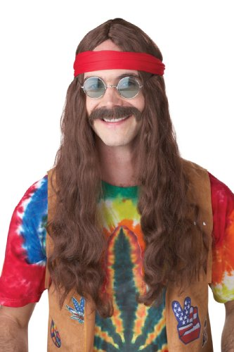 Disfraz De Hippie Halloween (California Costumes Men's Hippie Man Wig and Moustache, Brown, One)