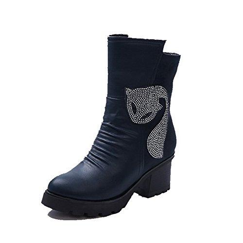 VogueZone009 Damen Reißverschluss Hoher Absatz Niedrig-Spitze Stiefel mit Beschlagene Strass, Blau, 38