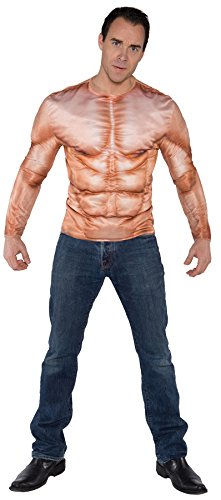 Mens Photo Real Shirt Muscle Padded Adult Costume Mens Costume